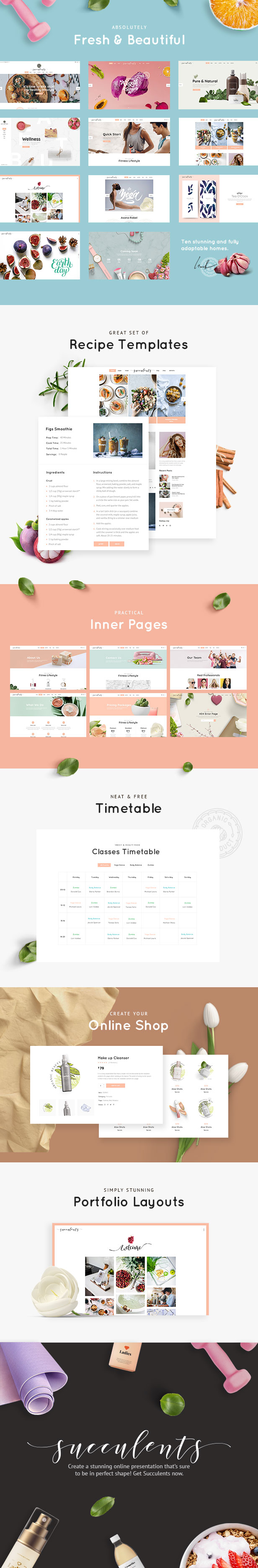 WordPress theme Succulents - A Healthy Lifestyle and Wellness Theme (Health & Beauty)